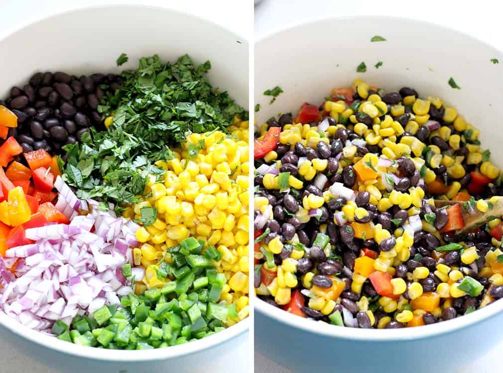Photo collage showing two photos: the one on the left shows a bowl of unmixed ingredients, and the bowl on the right shows the ingredients mixed together.