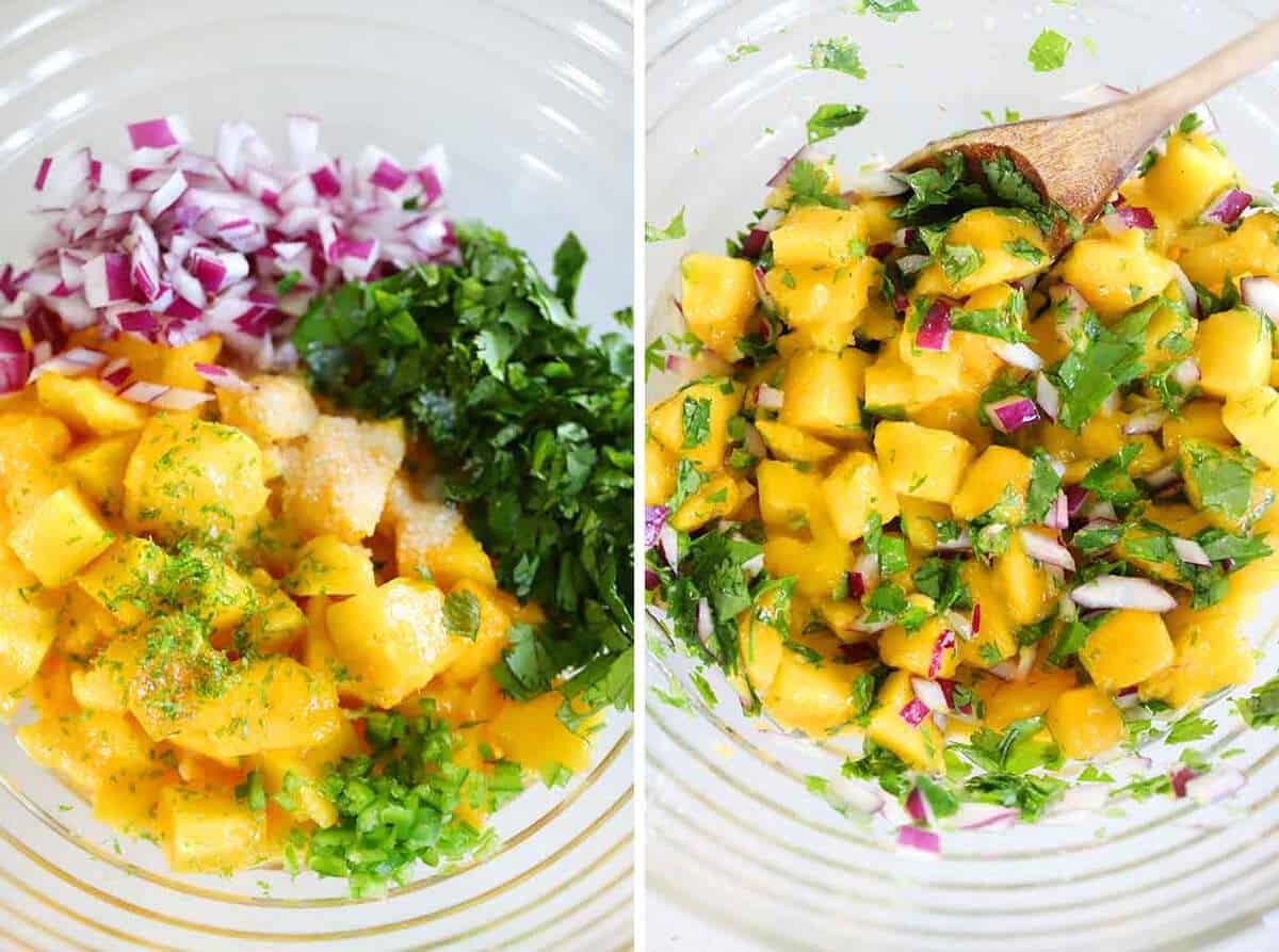 Mixing mangos, jalapenos, red onions, cilantro, lime zest, and lime juice in a bowl to make mango salsa.