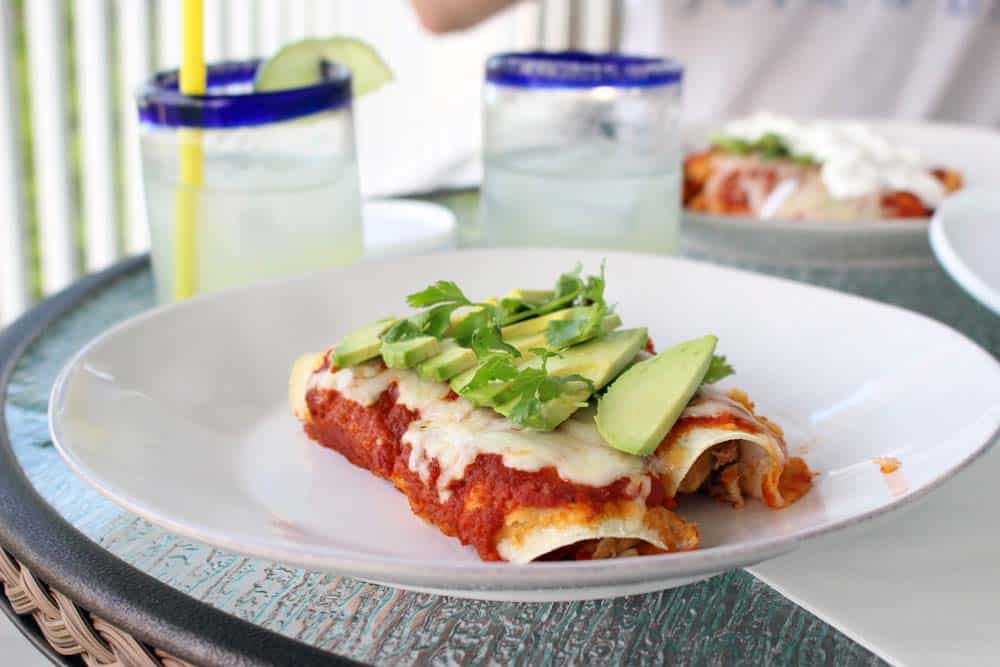 Two enchiladas on a white plate, with drinks in clear glasses in the background.