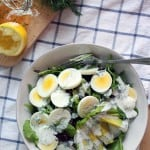 Mixed Greens Salad with Egg, Avocado, and Creamy Lemon-Dill Dressing | A refreshing, filling, and flavorful salad with a simple homemade dressing. Great to take to work for a healthy, satisfying lunch-on-the-go!