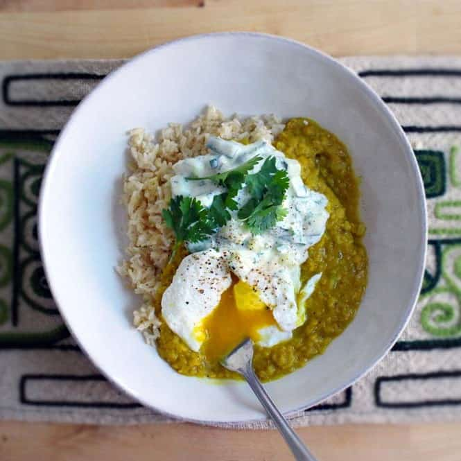 Red Lentil Dal with Poached Eggs and Cucumber Yogurt Sauce