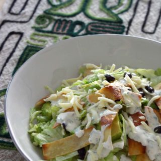 Easy Taco Salad | This salad is an easy combination of all your leftovers from taco night, topped with fresh tortilla strips and a simple, creamy, spicy dressing. Yum!