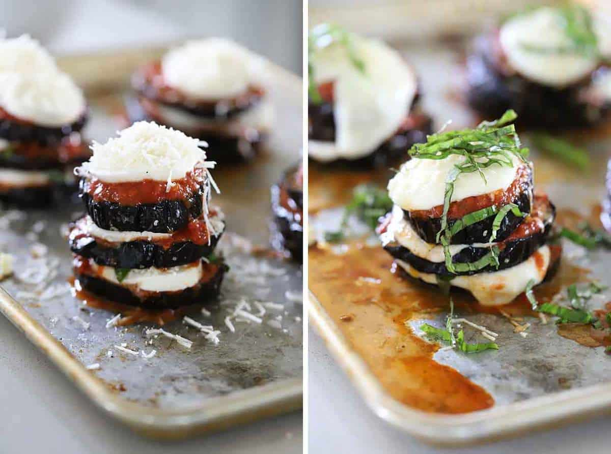 Eggplant parmesan stacks before and after baking