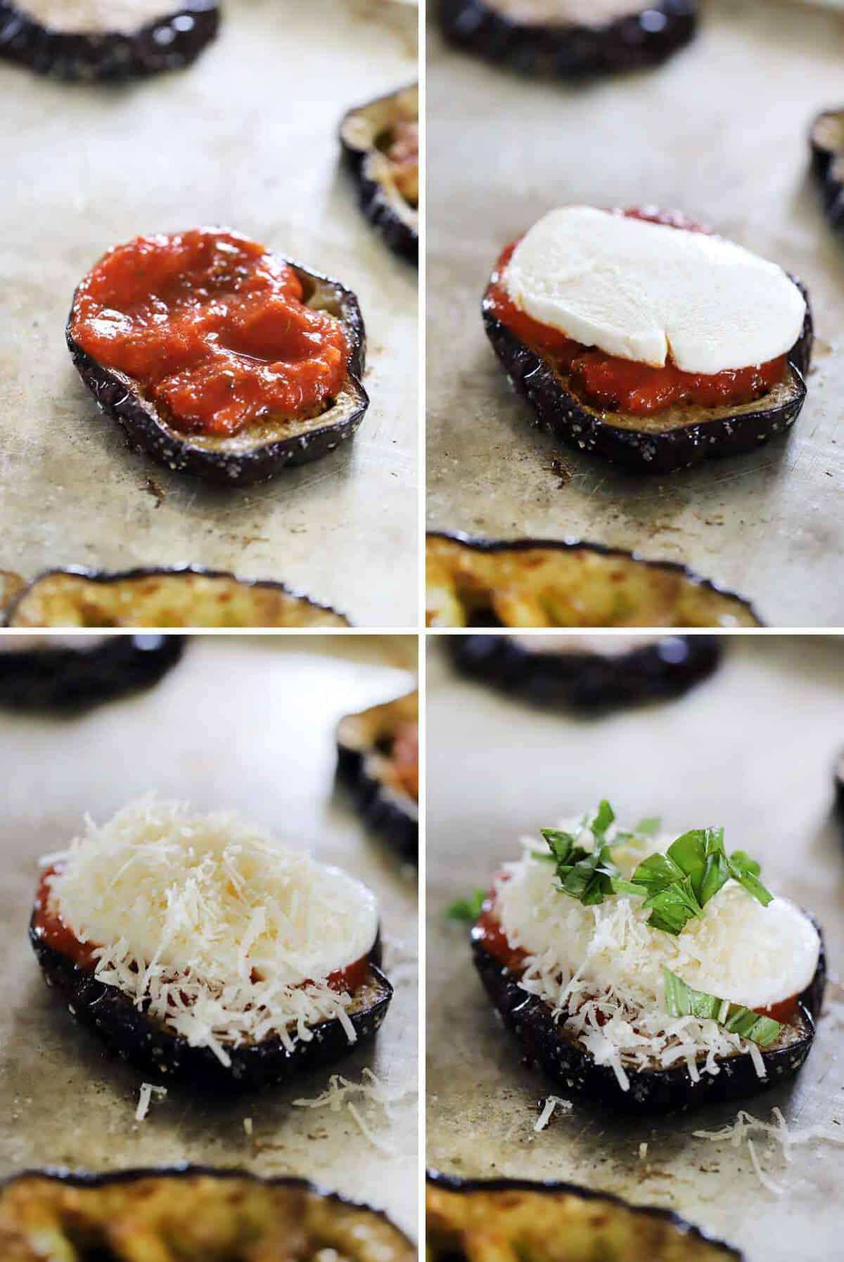 How to assemble eggplant parmesan stacks with marinara sauce, fresh mozzarella, parmesan, and basil.