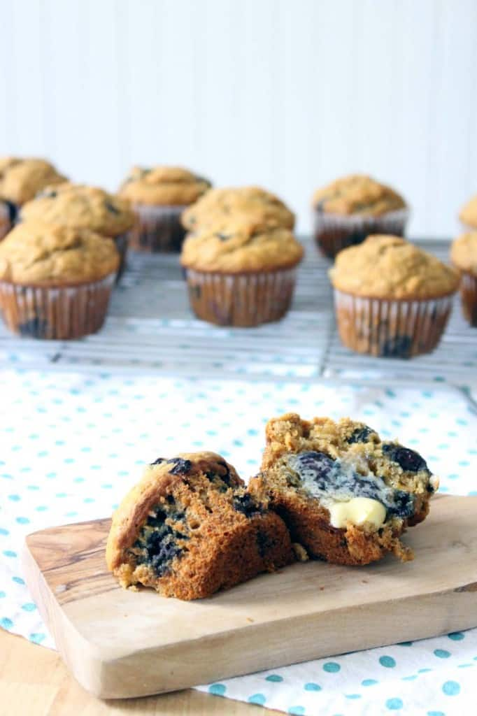 Banana Blueberry Oat Muffins (made with 100% whole grains and honey ...