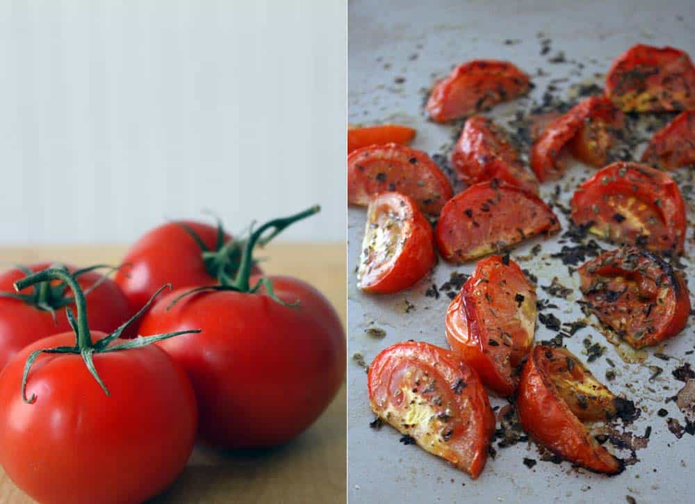 Collage photo showing a whole tomato on the left, with chopped, roasted, and seasoned tomatoes on the right.