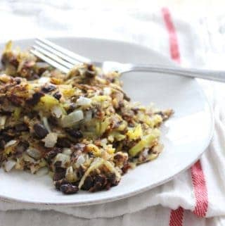 Like the vegetarian version of corned beef hash- an awesome way to use up leftover veggie burgers or fritters! Delicious, cheap, quick, and easy. Top with a poached egg and/or avocado for a complete meal.