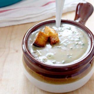 Creamy potato, caramelized fennel, and kale soup
