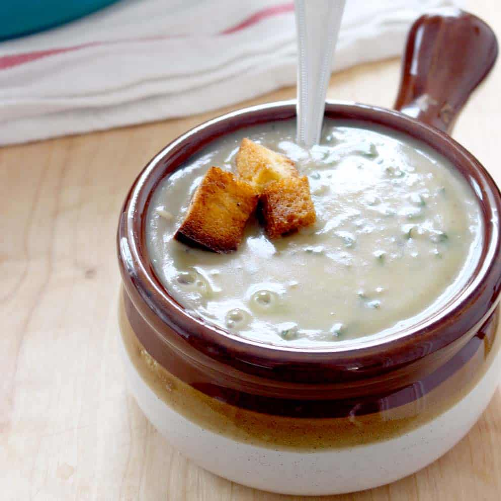 Creamy Potato, Caramelized Fennel, and Kale Soup