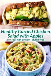 pinterest image for curried chicken salad