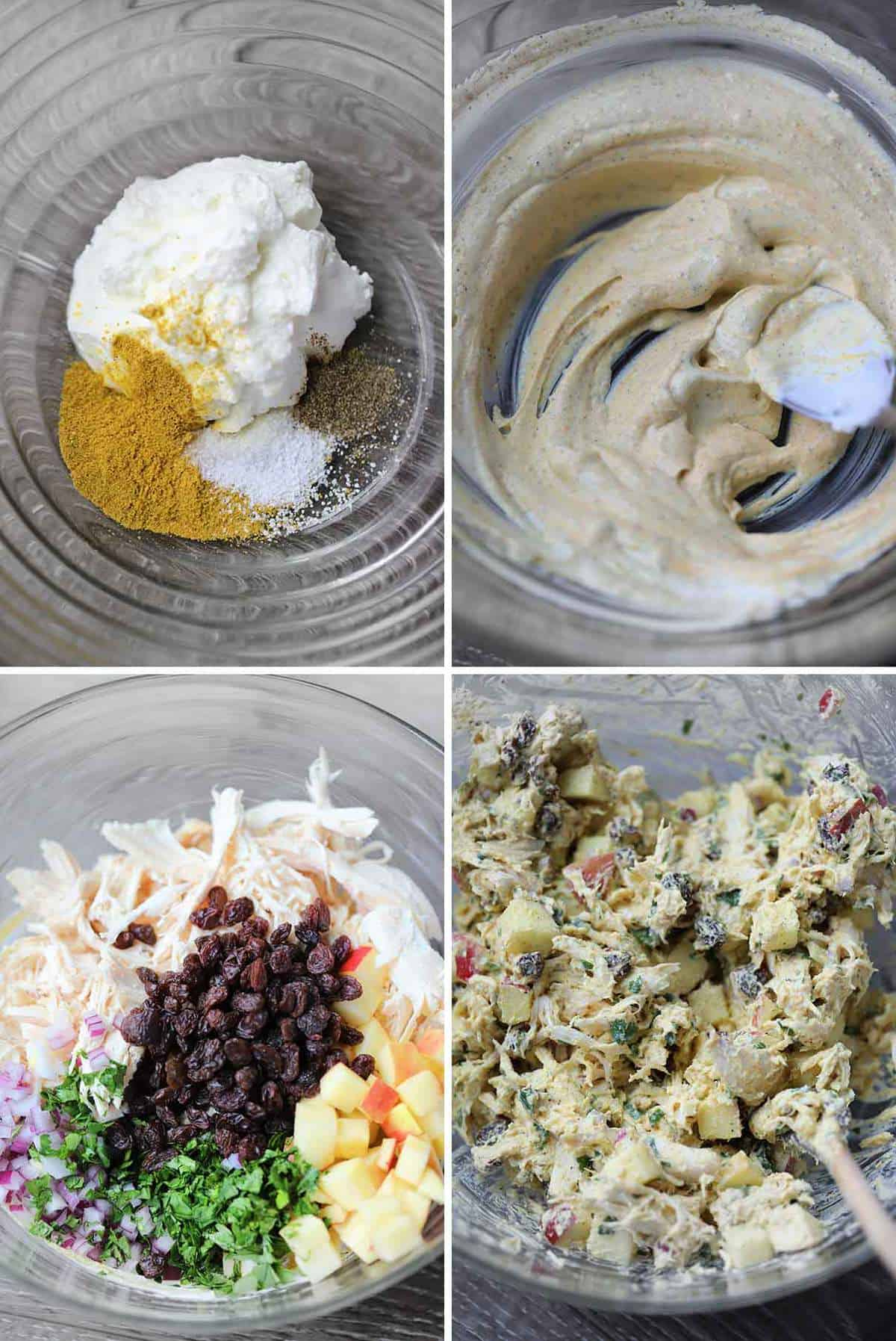 Process collage showing how to mix curried chicken salad.