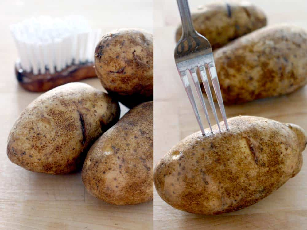 Baked potatoes are cheap, wicked easy, and SUPER tasty, especially if you make the skin crispy and delicious using this method! Makes a great dinner on their own or a side for a bigger meal.