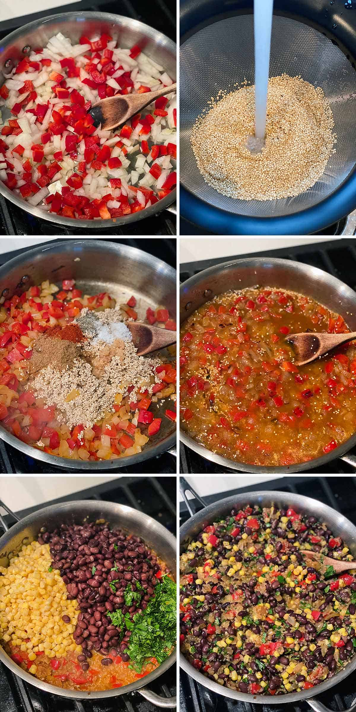Process collage showing how to make quinoa and black beans with peppers and onions in one pot.