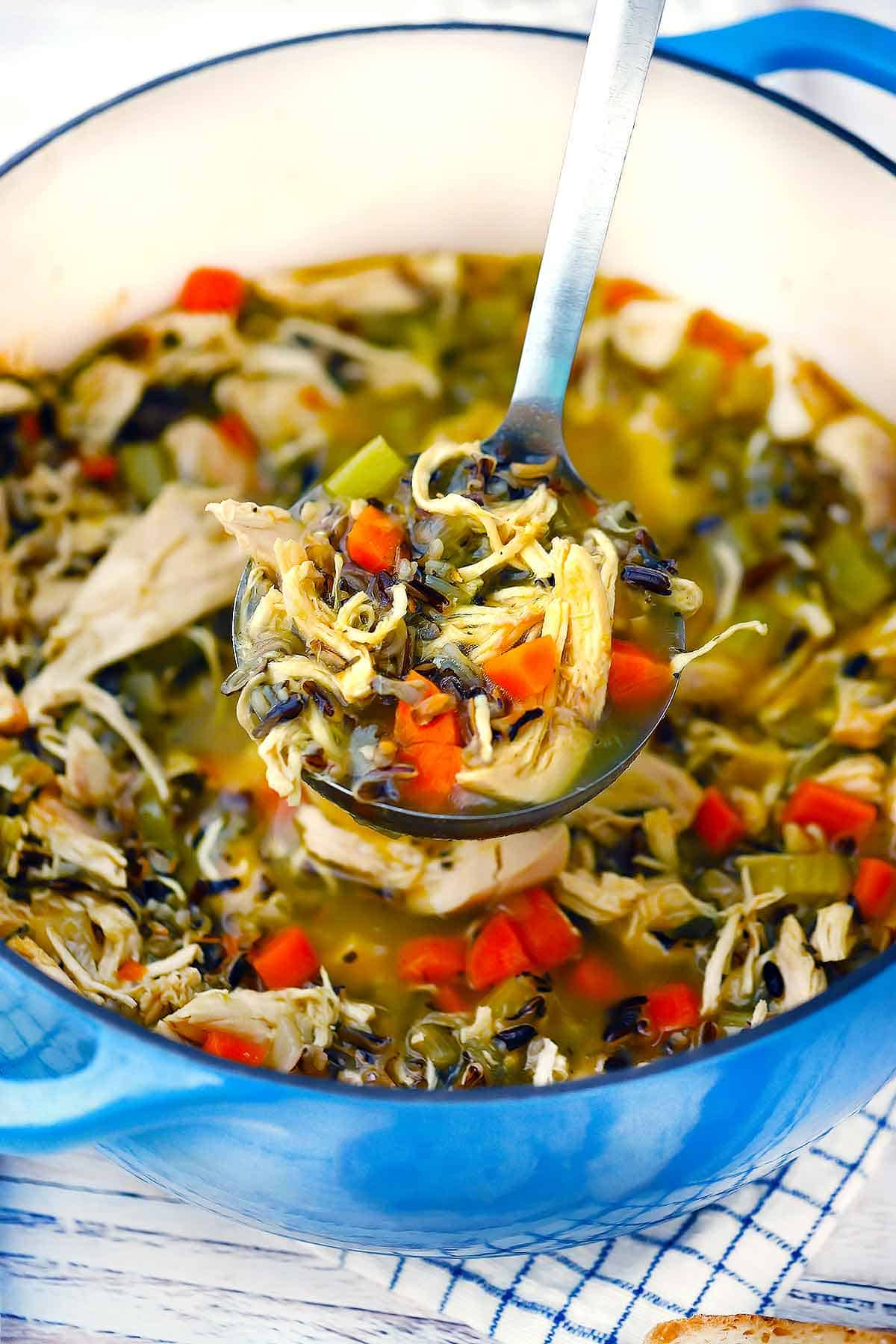 This chicken and wild rice soup is soul-satisfying and easy to make, with a nutty, earthy taste from the wild rice. Make on your stovetop or slow cooker, and freeze the extra for a rainy (or sick) day!