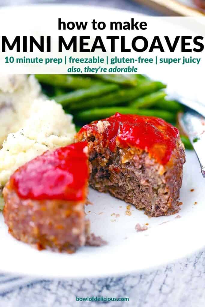 Pinterest image for mini meatloaves.