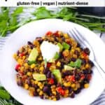 Pinterest image for black beans and quinoa.