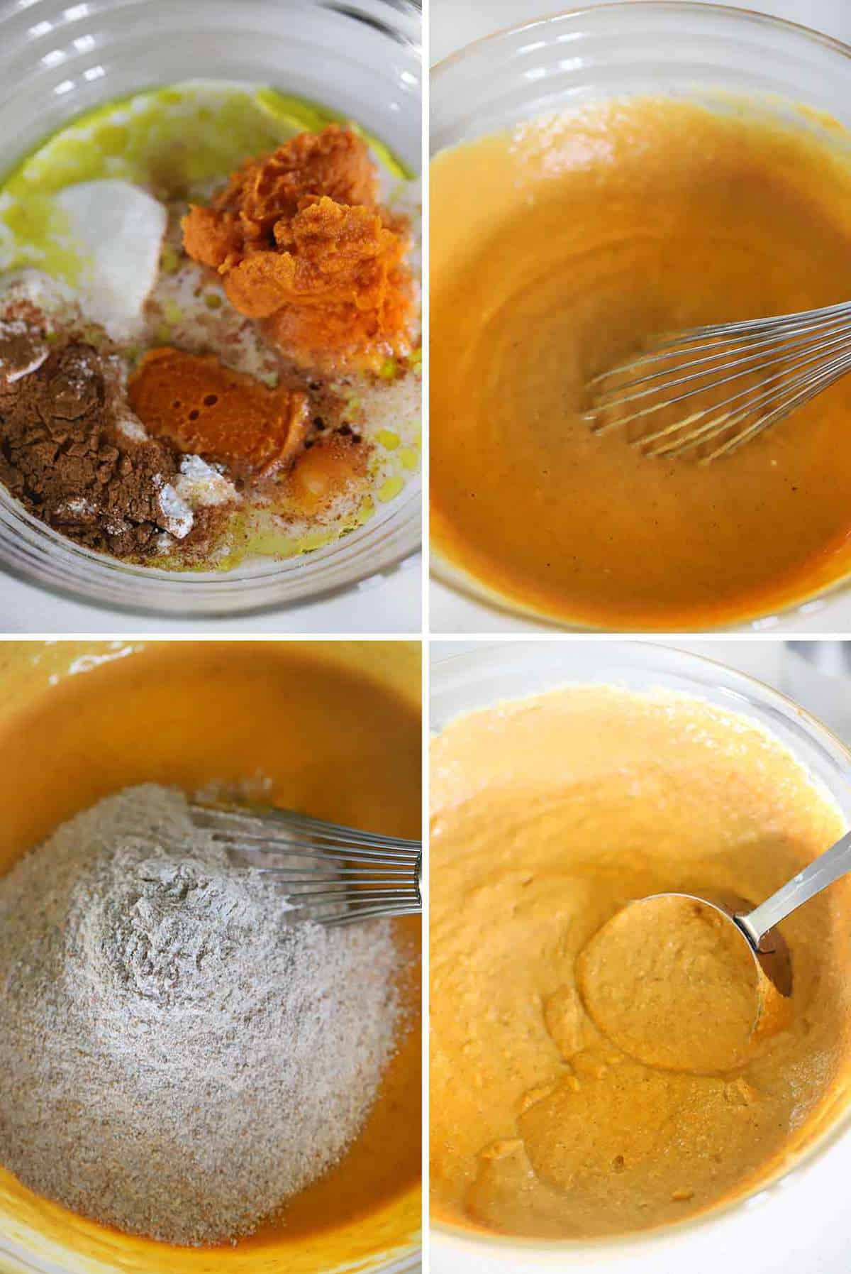 Mixing the batter for healthy pumpkin pancakes with whole wheat flour.
