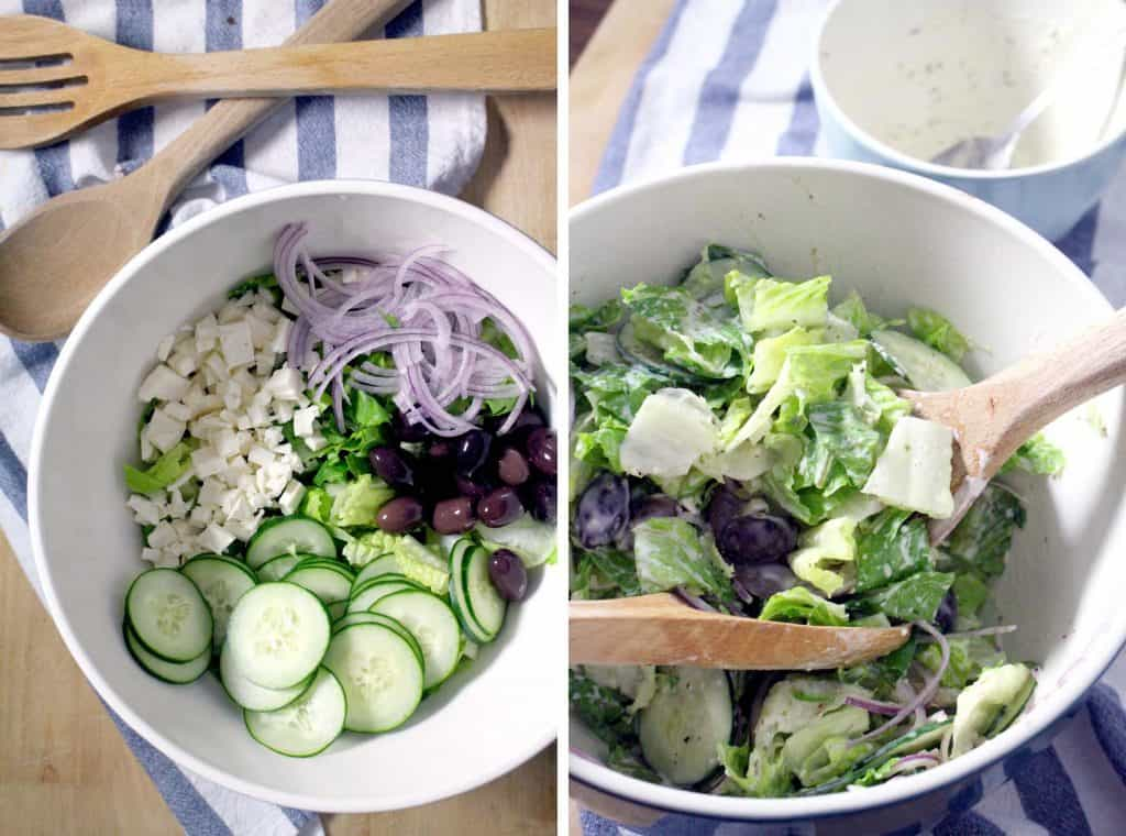 Photo collage showing two photos side-by-side. On the left is a bowl of salad ingredients unmixed, and on the right is a bowl of mixed salad ingredients with a wooden spoon inserted.