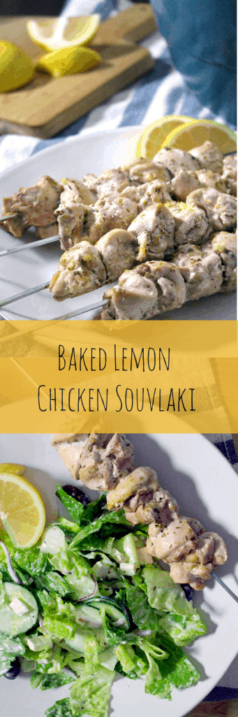 Lemon Chicken Souvlaki and Salad