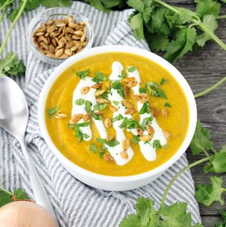 This slow cooker butternut squash soup is packed with flavor from curry, ginger, and other spices like turmeric. It's vegan, super creamy, and paleo/whole30 compliant!