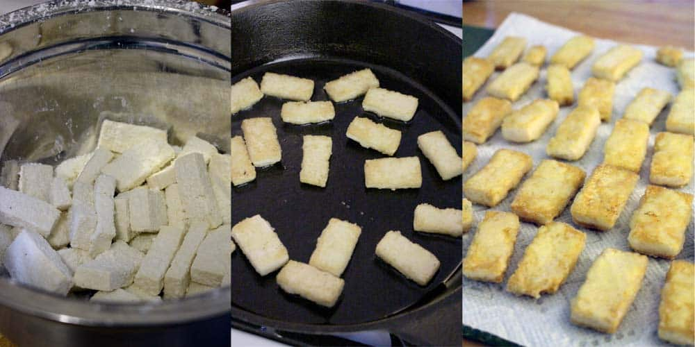 Photo collage showin three photos side-by-side. The photos show process shots of tofu being fried.