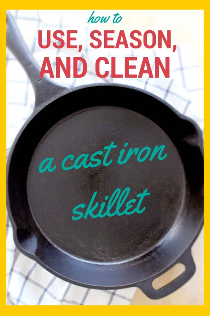 """Bird's eye view of a cast iron skillet on a blue and white striped cloth, with overlaid text that reads, """"How to use, season, and clean a cast iron skillet."""""""