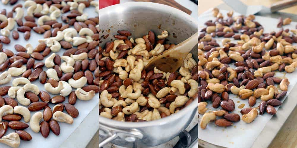 These sweet and spicy roasted nuts are great for company or as a snack during the busy work week! The combination maple syrup, honey, and red pepper is amazing, and they're quick and easy to make with no refined sugars or oils.