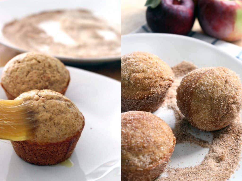 Whole Wheat Apple Cider Doughnut Muffins | These melt-in-your-mouth, fluffy, cake-like muffins are brushed with melted butter and rolled in cinnamon and sugar right after they come out of the oven. A special trick makes these muffins super fluffy, yet they are still whole wheat!