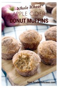 whole wheat apple cider doughnut muffins