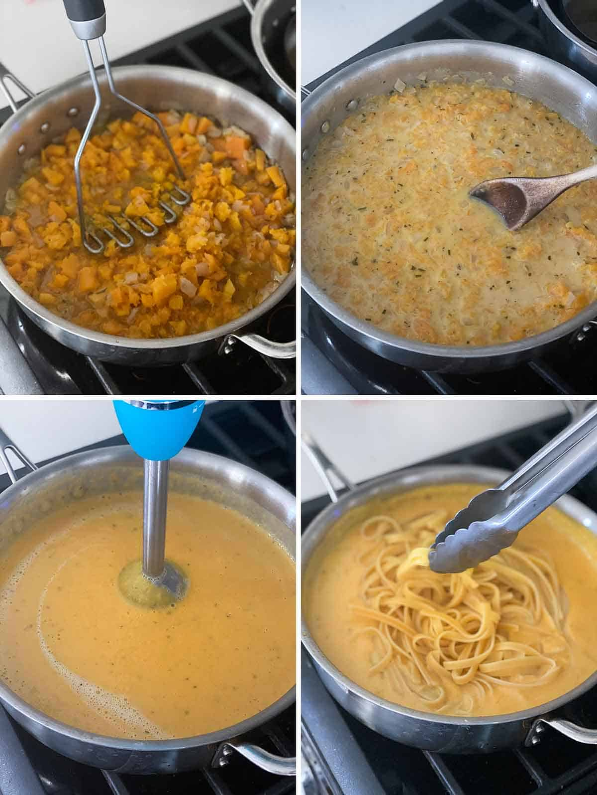 Process collage showing mashing butternut squash and blending in a skillet and adding pasta.