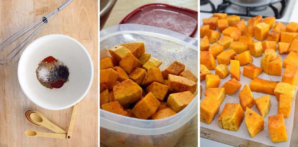 Process photo showing a white bowl with spices and oil inside, a container full of chopped and coated cubes of butternut squash, and cubes of butternut squash laid out on a baking sheet.