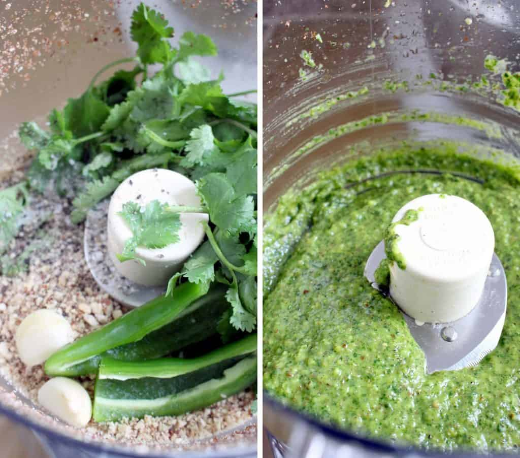 Making cilantro pesto in a food processor with jalapenos.