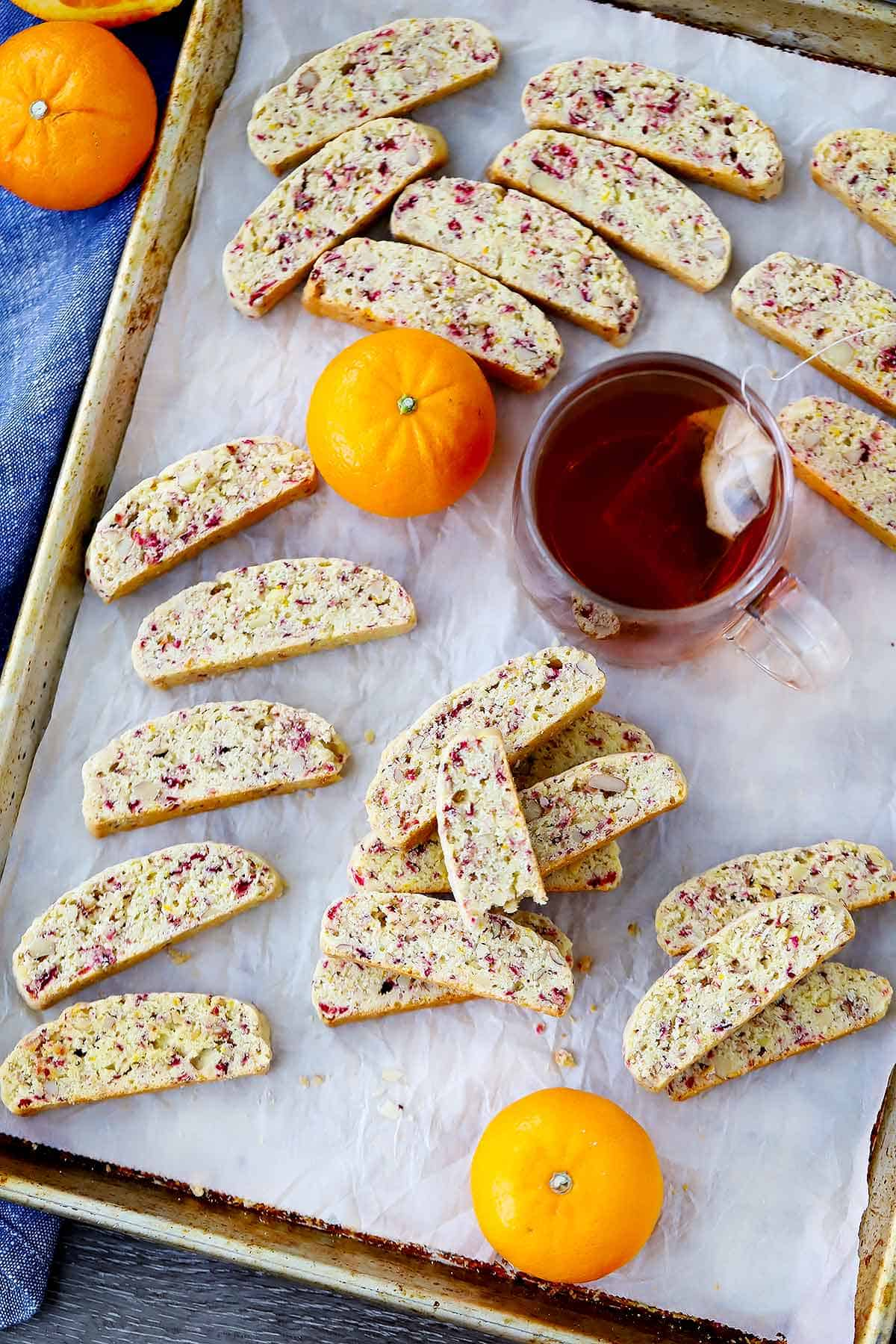 These cranberry orange biscotti are crunchy, tangy, sweet, and irresistible. ESPECIALLY when dunked in hot coffee. Great gift idea for the holidays!