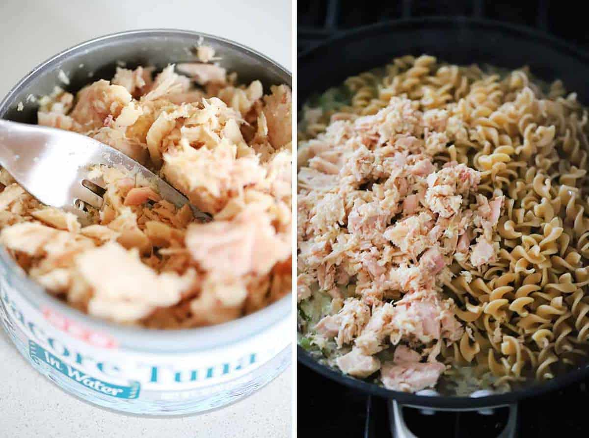 Flaking apart albacore tuna with a fork in the can and adding it to a skillet with whole wheat pasta.