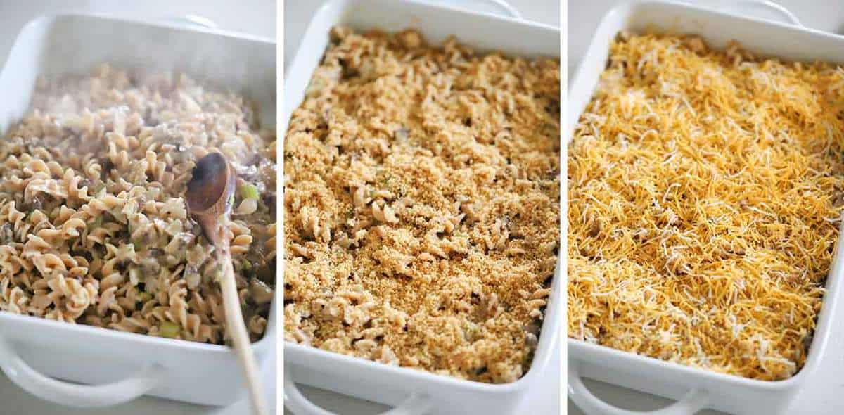 How to assemble a healthy classic tuna casserole.