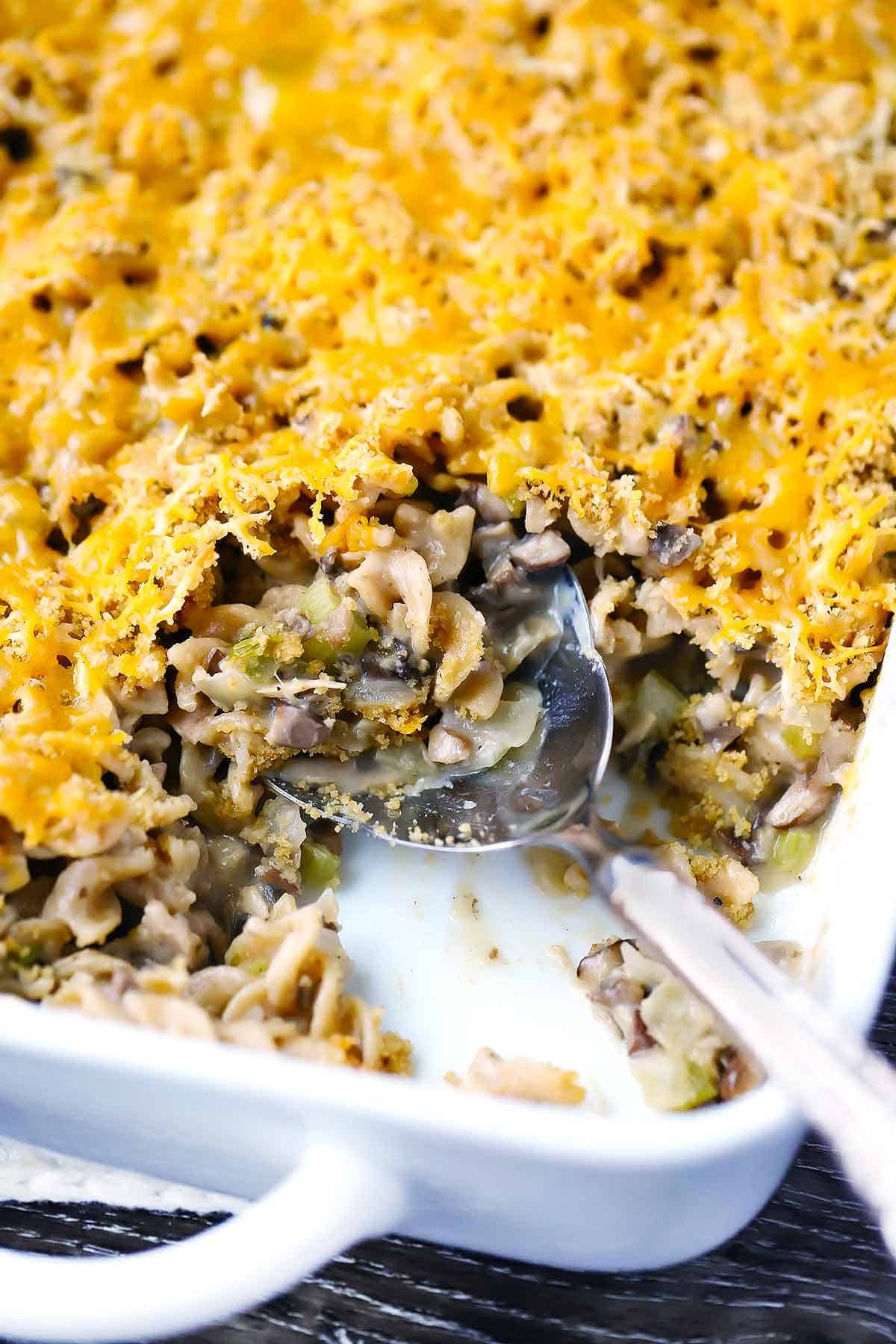 Tuna casserole from scratch in a casserole dish.