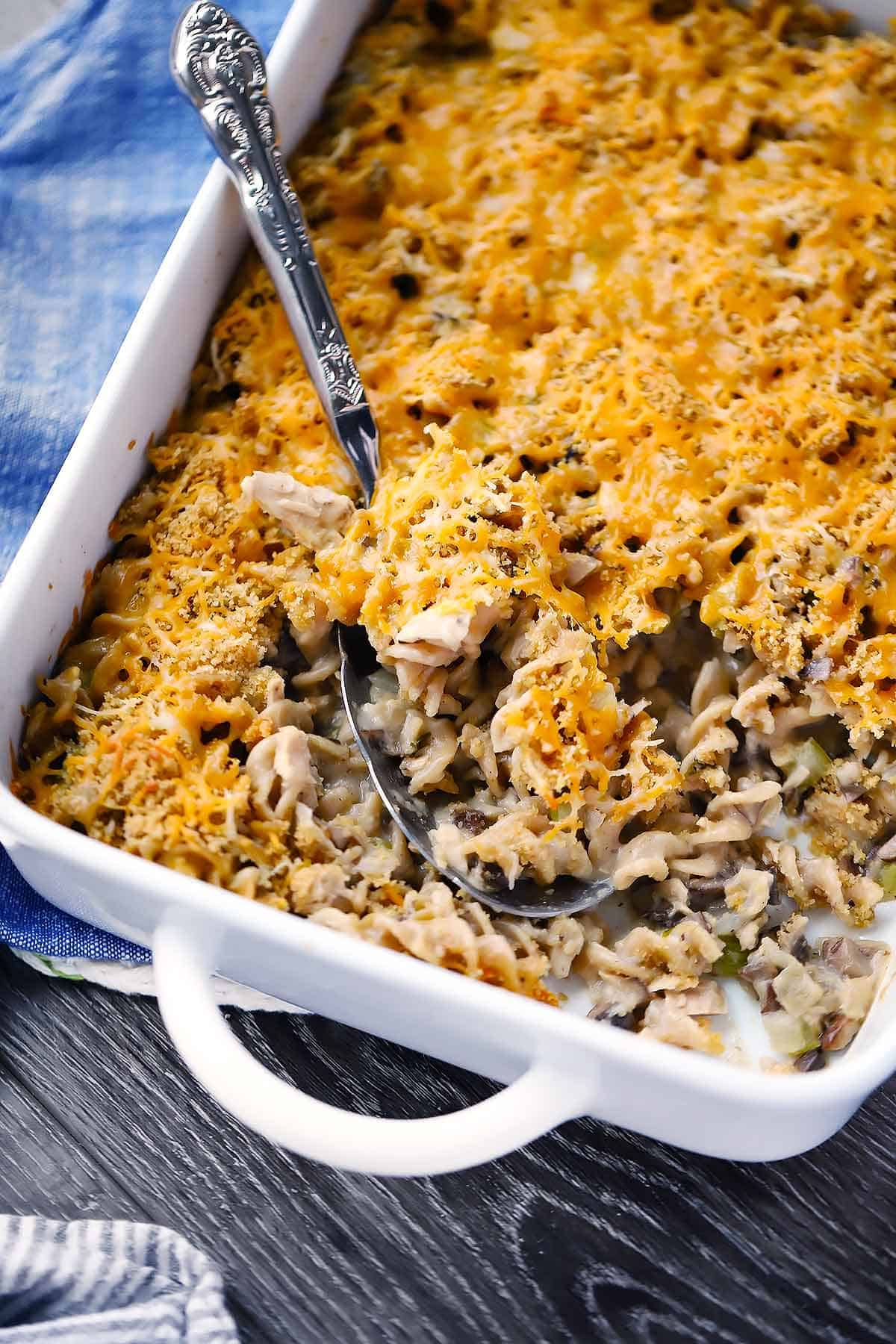 This tuna casserole is the ultimate creamy, warm comfort food. Made with 100% real, unprocessed ingredients. Make two and freeze one!