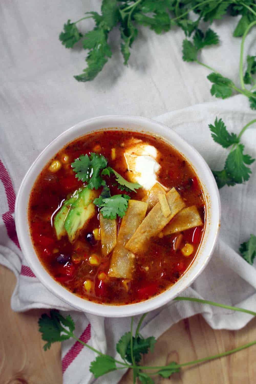 Healthy Vegetarian Tortilla Soup | bowl of delicious!