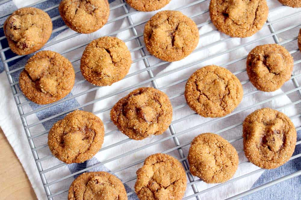 Spicy Ginger Date Cookies | These cookies are made with fresh ginger for a spicy, sweet, chewy treat that's perfect for after dinner. Made healthier with whole wheat flour and half the sugar of your average cookie!