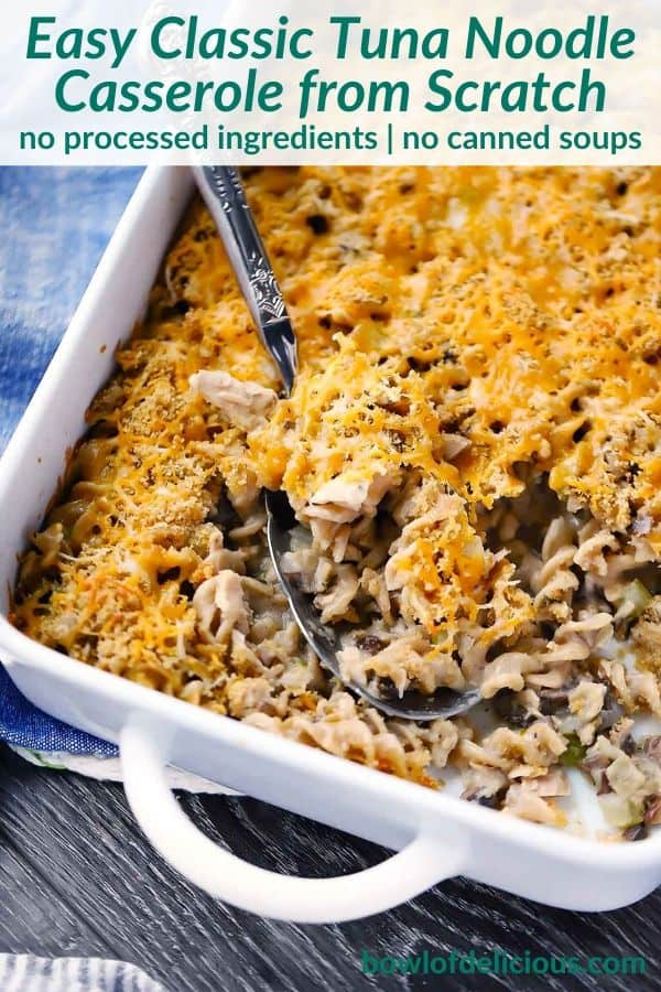 Pinterest image for tuna noodle casserole from scratch.