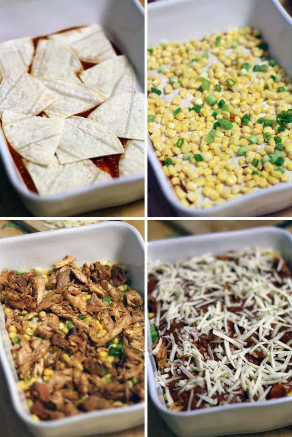With only 6 ingredients, this chicken and corn enchilada casserole is simple, delicious, and easy to make on busy weeknights!
