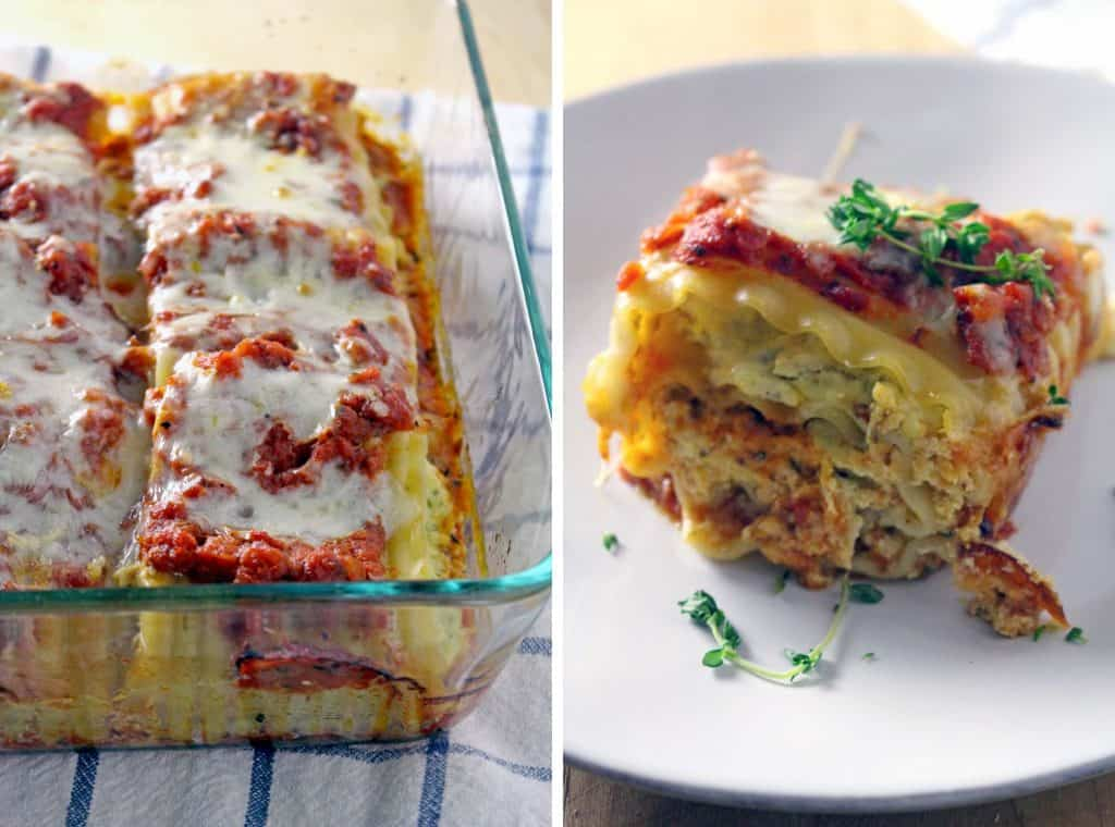 Photo collage showing two photos: on the left is a glass casserole holding pesto chicken lasagna roll-ups, and on the right is a white plate holding a pesto chicken lasagna roll-up.