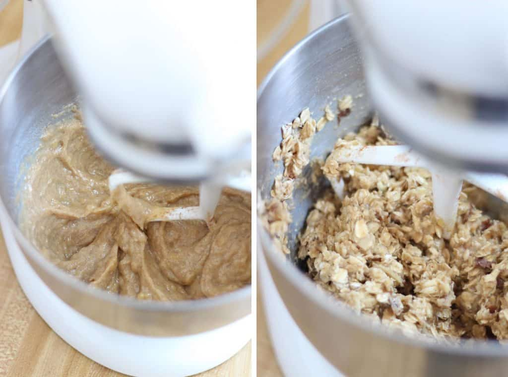 Two photos side-by-side that show the steps to mixing peanut butter and banana energy bar mixture in a stand mixer.