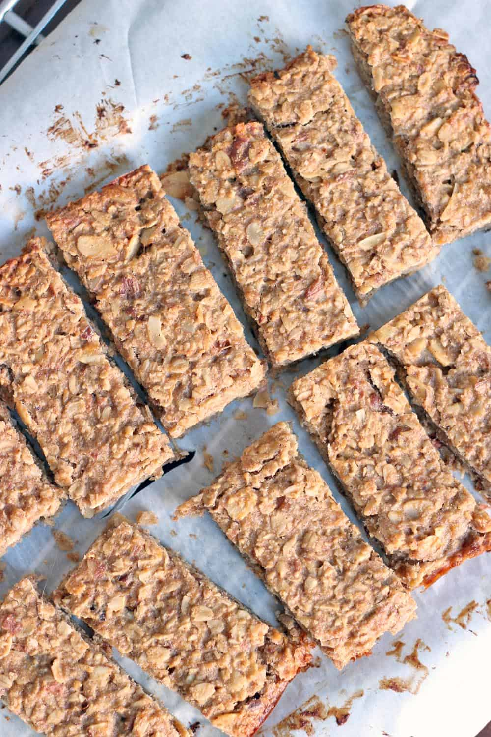 Overhead view of sliced peanut butter and banana energy bars.