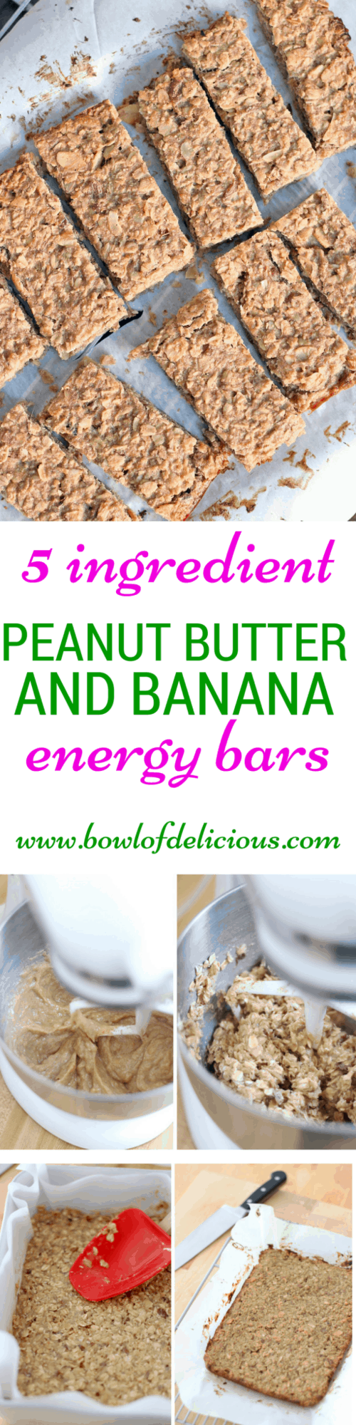 These peanut butter and banana energy bars are easy to make, have only 5 natural, healthy ingredients and are packed full of carbs, healthy fats, and protein. The perfect, delicious snack to get you going! #energybars #glutenfree #highprotein #wholegrain