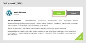 Install WordPress from Bluehost 2