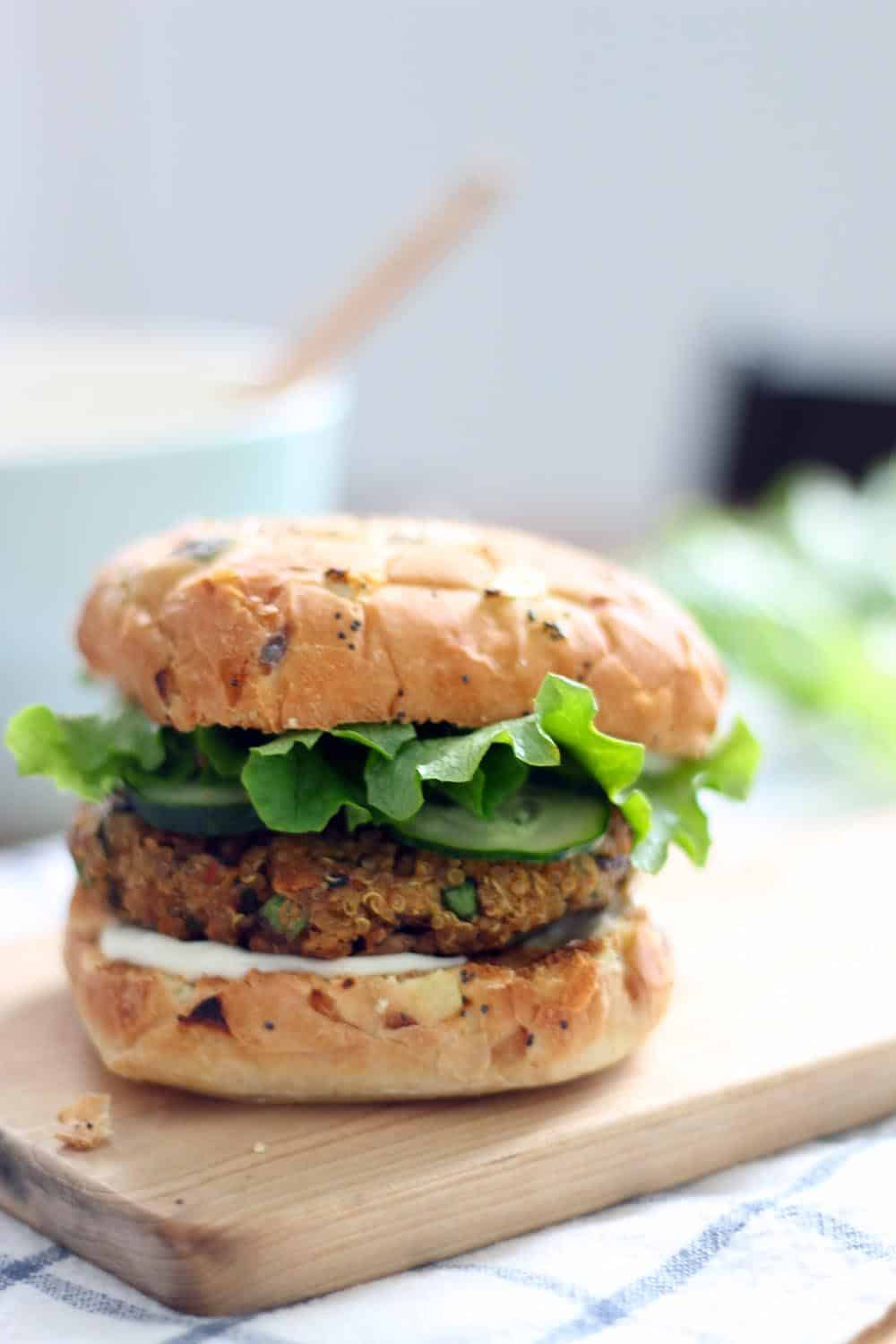 Quinoa, Mushroom, and Zucchini Veggie Burgers | These veggie burgers are fresh and healthy! Plus, the secret to the perfect homemade veggie burgers that don't fall apart. Make a bunch and freeze the leftovers!