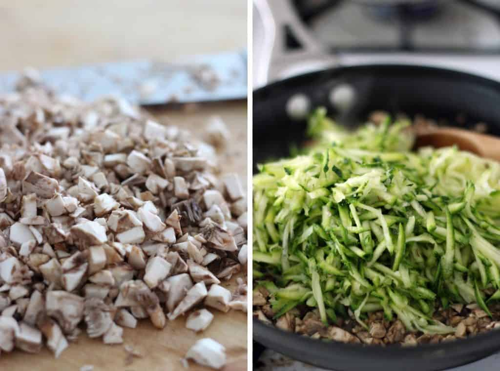 Photo collage showing two photos side-by-side. The left photo shows a pile of finely chopped mushrooms, and the right shows a pile of grated cucumber.