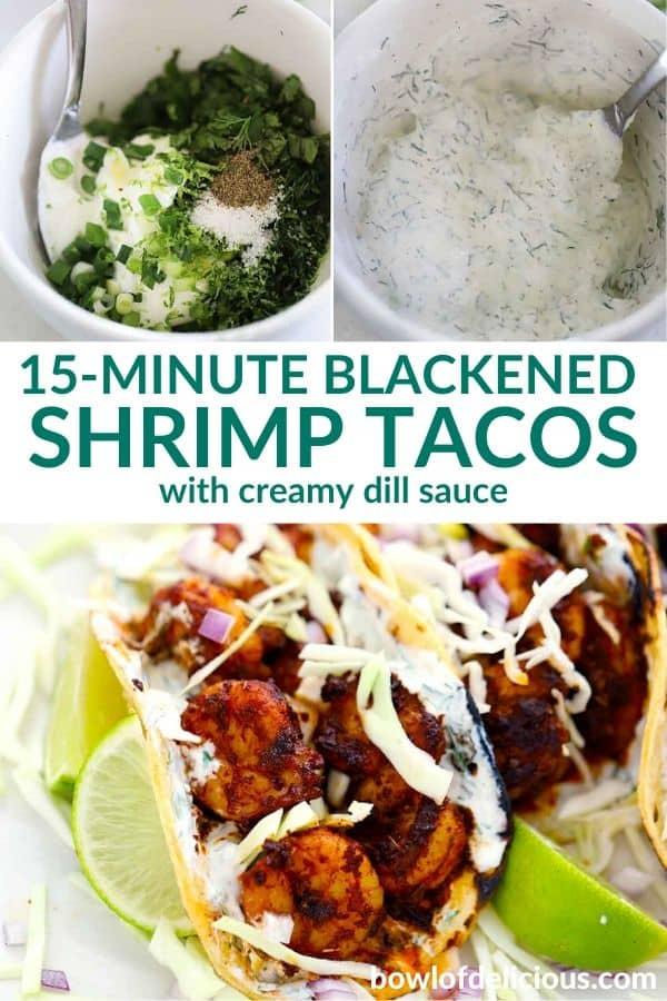 pinterest image for blackened shrimp tacos.