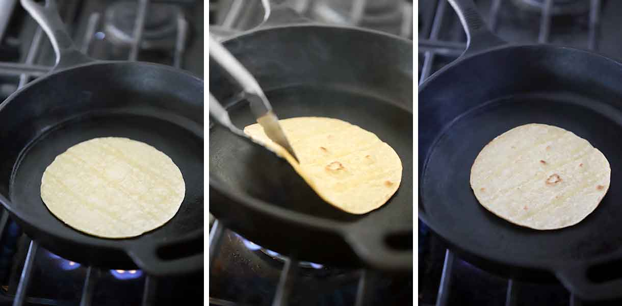 How to toast corn tortillas in a dry skillet.